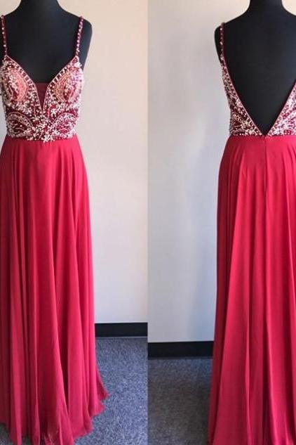 Red Beading Backless Chiffon Prom Dresses 2017