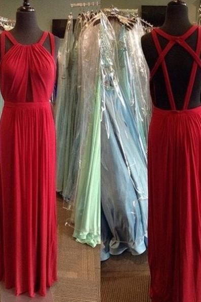 Red Long Sheath/Column Halter Backless Chiffon Prom Dresses 2017