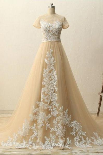A-Line Short Sleeves Natural Zipper Appliques Tulle Prom Dresses 2017
