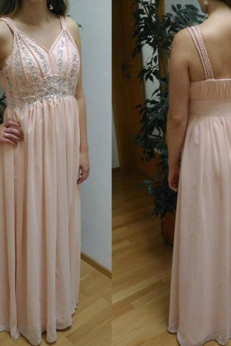 Natural Straps Beading Floor-length Chiffon Prom Dresses 2017