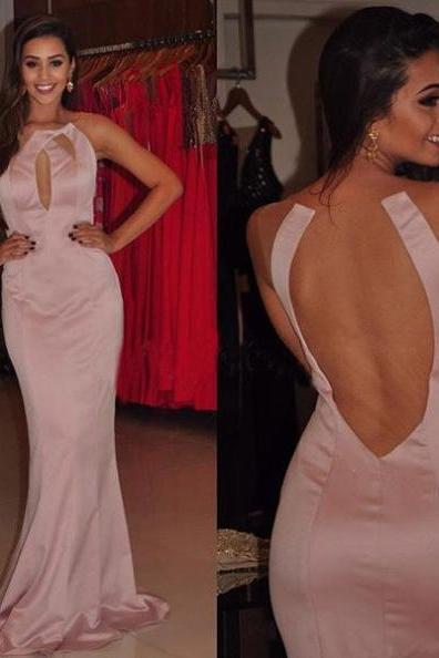 Sexy Round Neck Sheer Back Satin Prom Dresses 2017