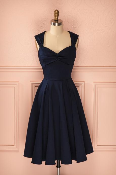 2017 Sexy Short Navy Blue V Neck Satin Prom Dress , Graduation Dresses 2017,Party Dresses,Short Evening Dresses, Short Prom Dress 2017