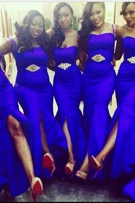 Cheap Sexy Royal Blue Mermaid Long Bridesmaid Dresses High Quality Split Wedding Party Gowns,
