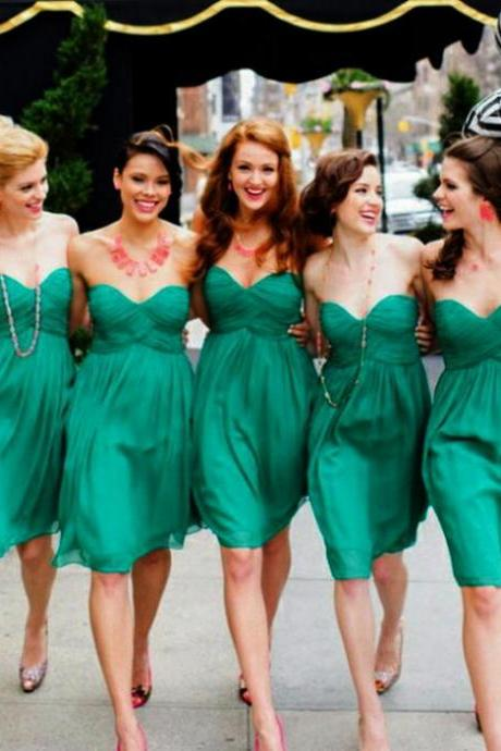 Custom Made Green Sweetheart Neckline Short Summer Chiffon Bridesmaid Dress