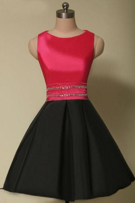 Black Satin Beaded Sleeveless Homecoming Dress,Prom Dress,Graduation Dress