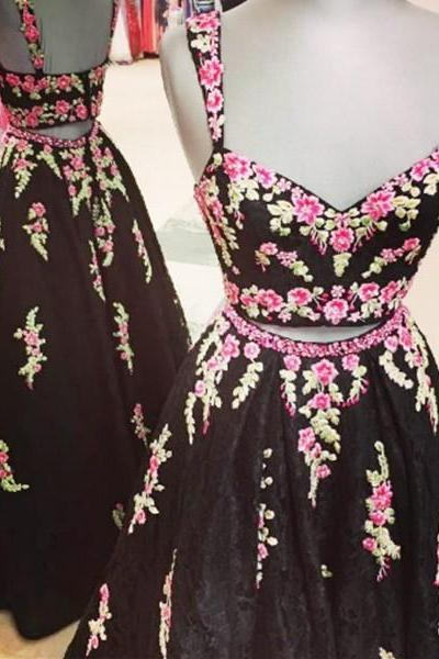 Black Two Piece Lace Straps Floor-Length Prom Dress with Appliques 2017