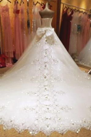 2017 High Level Custom Made Bridal Wedding Dress Pure Hand Beads Sweetheart Wedding Dresses Luxury Crystal