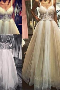 2017 Unique Elegant Tulle Lace Appliques Sashes Long Weeding Dresses Glamorous Spaghetti Straps A-Line Cheap Weeding Dresses