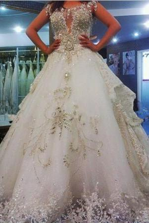 2017 Expensive Wedding Dresses Luxury wedding dress with diamonds and crystals Appliques beading Ball Gown