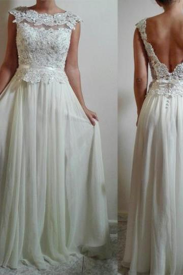 White Wedding Dresses,Long Wedding Gown,Lace Wedding Gowns,Chiffon Bridal Dress,Wedding Dress With Cap Sleeves,White Brides Dress,Backless Wedding Gowns, beach dresses, cheap wedding dress, custom wedding dress, Sexy Bridal Dresses, 2017 Wedding Dresses, Arabic Bridal Dresses, Said Mhamad Wedding Gown,custom wedding dresses