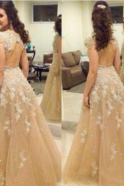 A-Line Natural Backless Prom Floor-Length Tulle Prom Dresses 2017