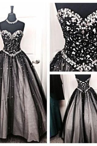 Black A-Line Sweetheart Sleeveless Lace-up Floor-Length Tulle Prom Dresses 2017