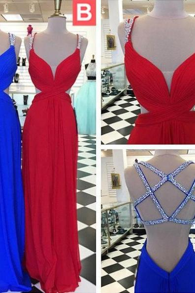 Blue Beading Straps Backless A-line Chiffon Prom Dresses 2017