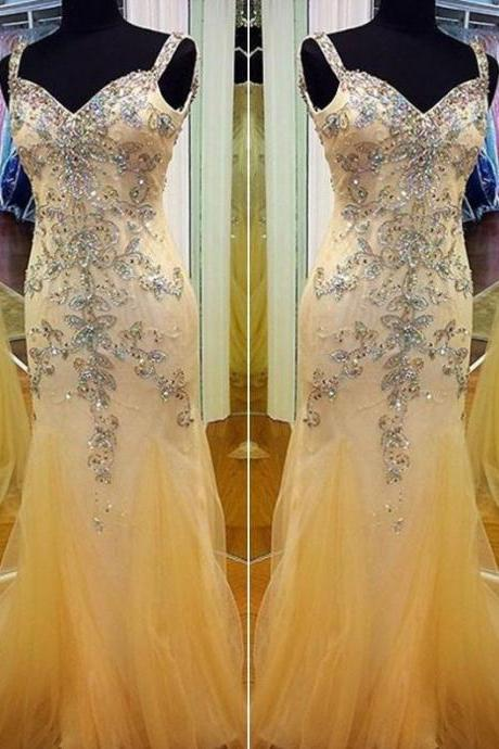 Long Trumpet/Mermaid Straps Tulle Prom Dresses 2017