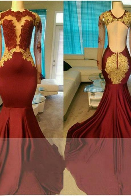 Appliqued Illusion Bodice Long Sleeves Mermaid Prom Dress with Open Back