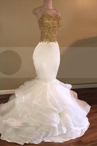 Gold Bodice Mermaid Prom Dress with Crystaled Straps