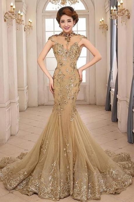 Gorgeous High Neck Appliques Backless Gold Mermaid Evening Gown/Mother of the Bride Dress