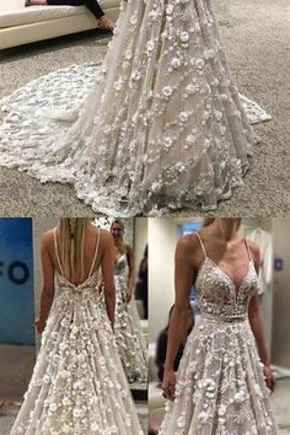 Stunning Spaghetti Straps Court Train Backless Wedding Dress with Beading Waist