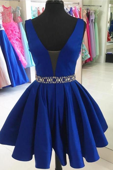 Sexy V Neck Short Party Dress,Royal Blue Satin Backless Homecoming Dresses,Mini Cocktail Dress,Graduation Party Dress with Beaded