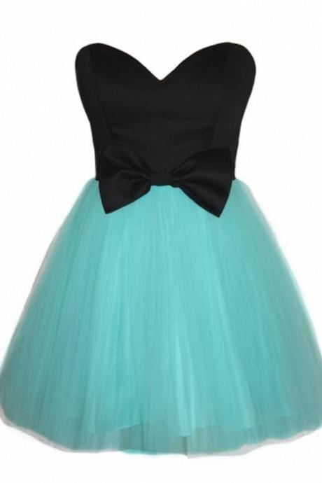 Homecoming Dress,black sweetheart bow sashes tulle homecoming dresses 2017 short prom gowns