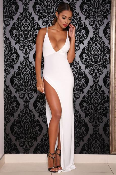 Stretchy Fabric Maxi Dress with Side Slit