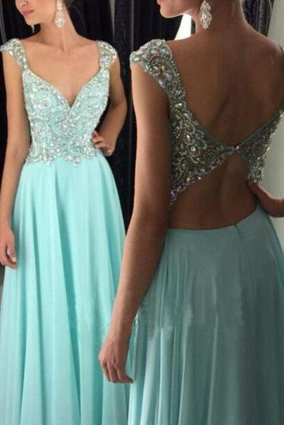 Sexy V neck Prom Dresses with Open Back