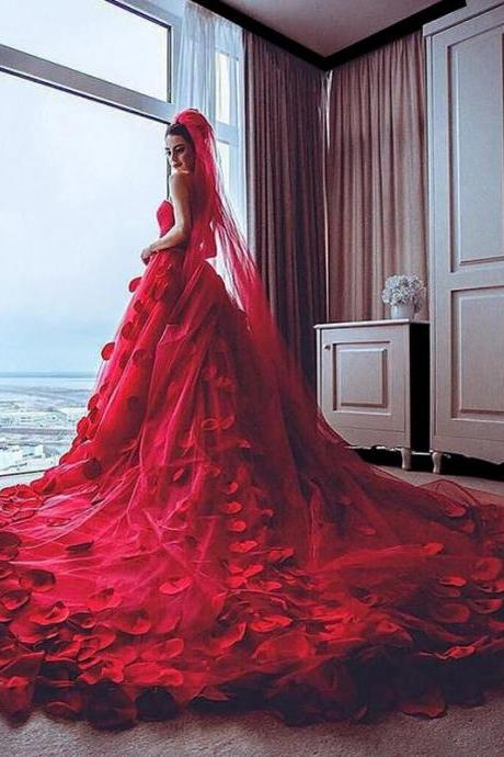 Red Wedding Dress, Handmade Flowers Wedding Dress, Soft Tulle Wedding Dress, Cheap Wedding Dress, Elegant Wedding Dress, Puffy Wedding Dress, Romantic Wedding Dress, Wedding Dresses 2017