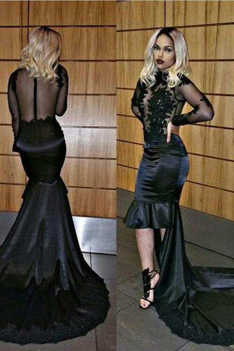 Black Prom Dress 2017Jewel Neckline Long Sleeves High Low Dress