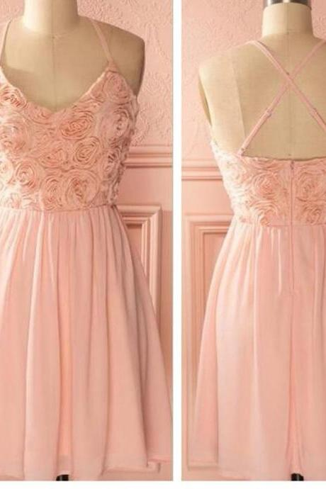 Peach spaghetti halter simple mini freshman homecoming prom bridesmaid dress,