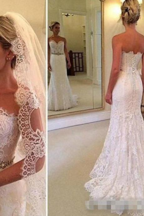 New Lace White/Ivory Wedding Dress Bridal Wedding Gown Size