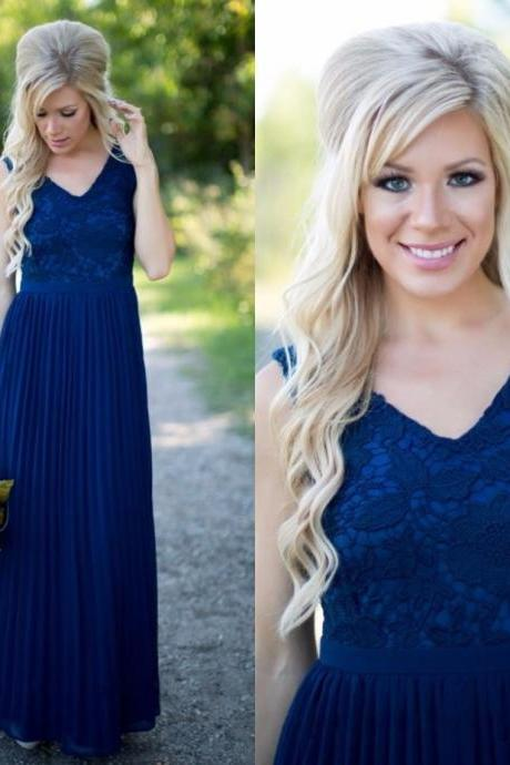 Navy Blue Bridesmaid Dress, Long Bridesmaid Dress, Plus Size Bridesmaid Dress, Pregnant Bridesmaid Dress, Lace Bridesmaid Dress, Cheap Bridesmaid Dress, V Neck Bridesmaid Dress, Bridesmaid Dresses 2017