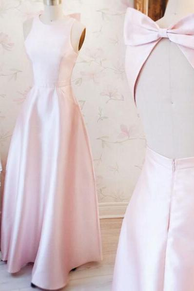 Light Pink Satin Crew Neck Halter Floor Length A-Line Bridesmaid Dress Featuring Bow Accent Open Back, Formal Dress