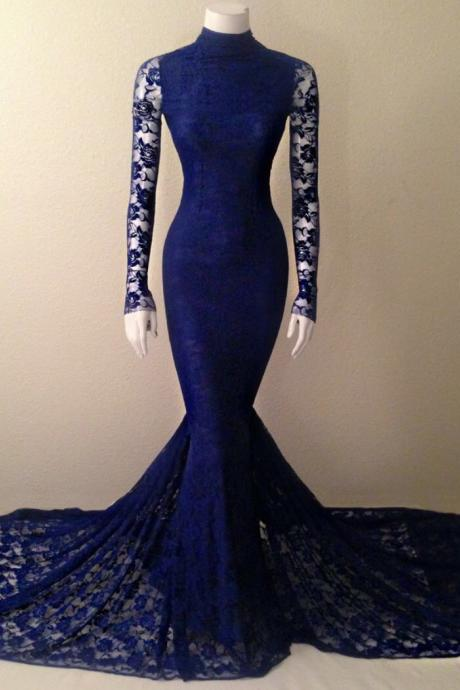 High Collar Navy Blue Mermaid Lace Prom Dress Formal Occasion Dress with Long Sleeves