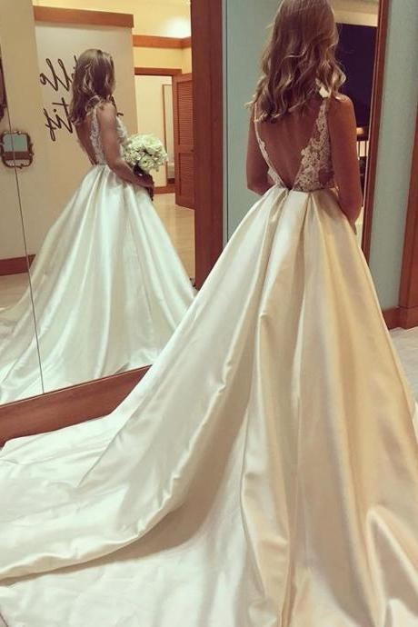Wedding Dresses, Wedding Gown,Princess Wedding Dresses elegant lace appliques open back satin ball gowns wedding dresses