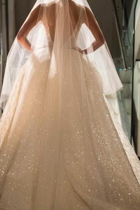 Wedding Dresses, Wedding Gown,deep v neck sequin beaded bling bling wedding dresses ball gowns 2017 luxury bridal gowns