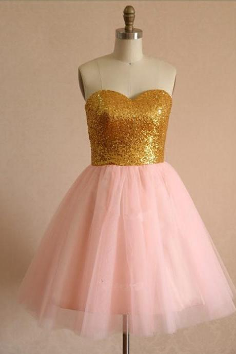 Short Tulle Pink Dresses sweetheart Neck Women Party Dresses