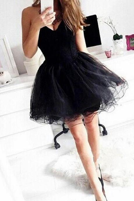 One Shoulder Black Short Tulle Homecoming Dresses Lace Women Party Dresses