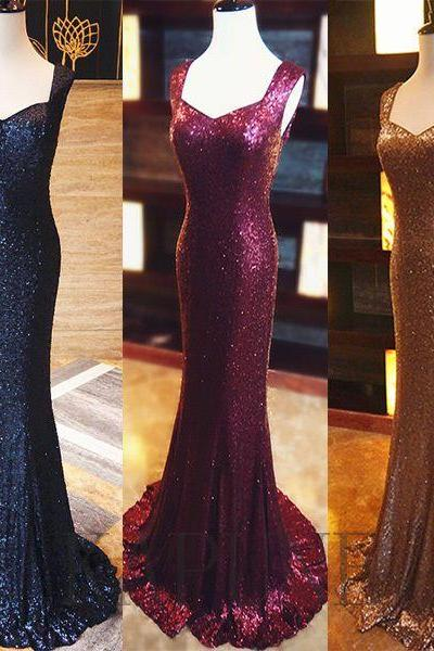 Prom Dresses,New Arrival Sparkly Sleeveless Long Mermaid Sequined Zipper Evening Dresses