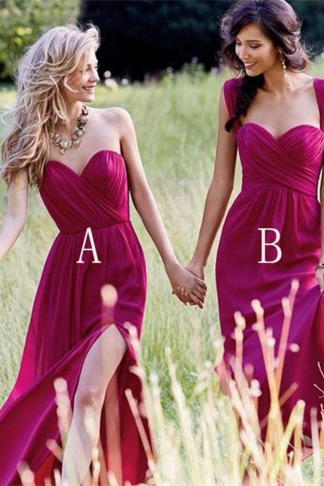Cheap Simple Formal Chiffon Side Split Floor Length Custom Bridesmaid Dresses
