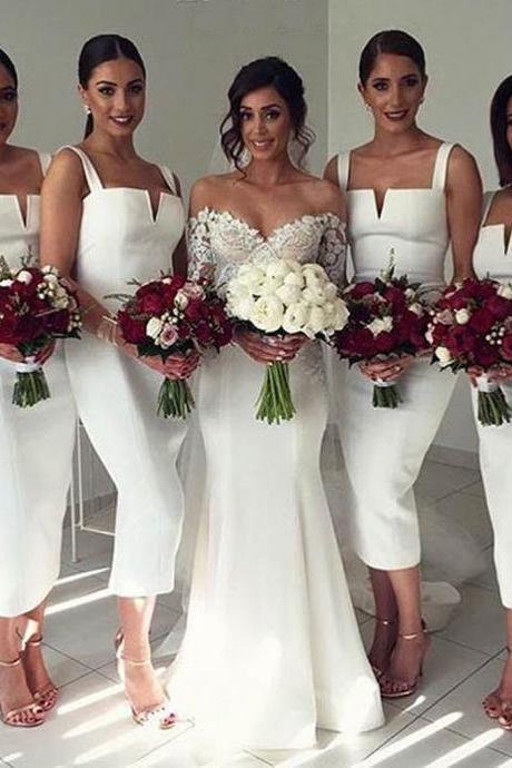 Simple Cheap Unique White Off Shoulder Straight V Neck Sexy Tea Length Bridesmaid Dresses,