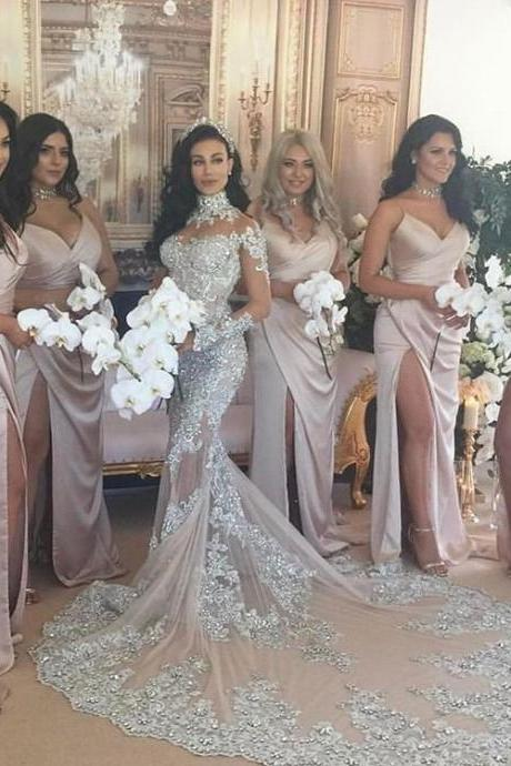 Sexy Spaghetti Side Slit Simple Design Long Bridesmaid Dresses,