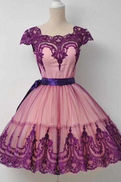 Cap Sleeves Homecoming Dress,Purple Homecoming Dress, Fashion Lace Homecoming Dress,Graduation Dress , Homecoming Dress ,Prom Dress for Teens , Homecoming Dresses
