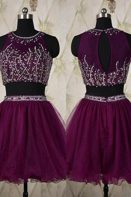 Two parts short tulle Homecoming Dresses with Crystals Mini Party Dresses
