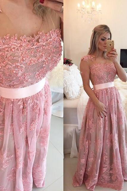 Prom Dresses,Pink Evening Gowns,Lace Formal Dresses,Prom Dresses With Straps,Fashion Evening Gown,Beautiful Evening Dress,Pink Formal Dress,Lace Prom Gowns