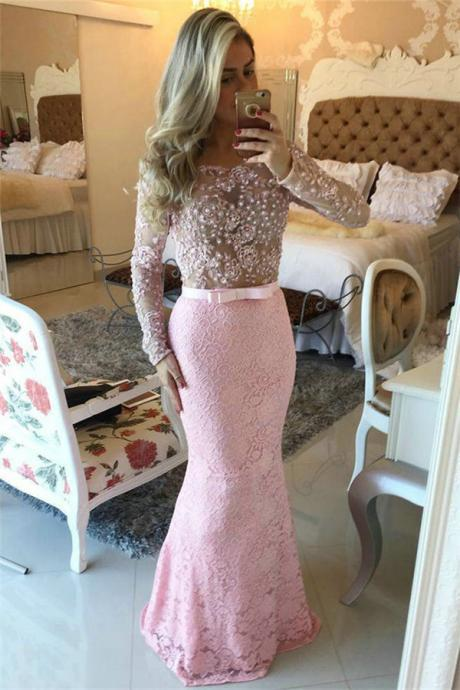 Prom Dresses,Prom Dress,Pink Lace Prom Dresses Long Sleeve Open Back Pearls Evening Gowns
