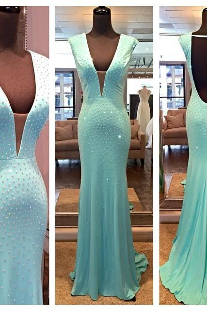 Mint Green Prom Dresses,Backless Evening Gowns,Sexy Formal Dresses,Sexy Prom Dresses,Fashion Evening Gown,Open Backs Evening Dress
