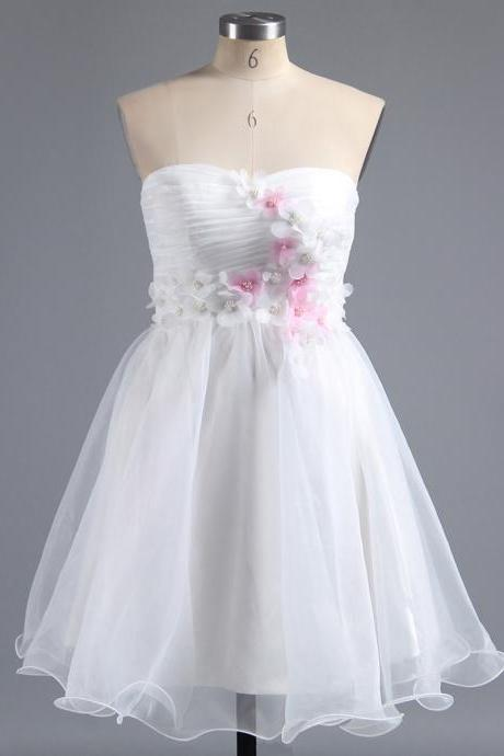 White Sweetheart Homecoming Dress with 3-D Appliques, Floral Short Homecoming Dress, Sweet Organza Homecoming Dress with a Ribbon