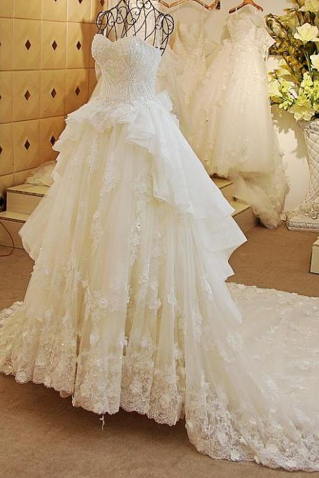 Luxury Arabia Wedding Dresses Ball Gown Wedding Dresses Beaded Sweetheart Crystals Bling Bridal Gown Catherdral Train White Wedding Dresses 2017