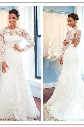 White Wedding Dresses,Long Sleeves Wedding Gown,Lace Wedding Gowns,Mermaid Bridal Dress,2017 Princess Wedding Dress,Beautiful Brides Dress,Wedding Gowns For Spring Summer