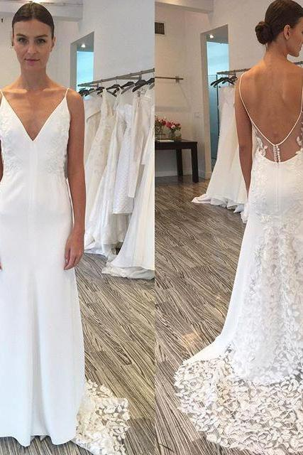 Gorgeous V-neck Wedding Dresses,Spaghetti Straps Wedding Gowns,Long Wedding Dress with Lace Train,White Bridal Dresses,Lace Wedding Dress,Beach Wedding Dress,Backless Wedding Gowns